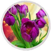 Tulips Round Beach Towel by Carlos Avila