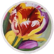 Tulips Round Beach Towel by Claudia Goodell