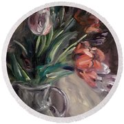 Round Beach Towel featuring the painting Tulips by Donna Tuten