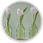 Tulips In A Bottle Round Beach Towel
