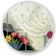 Tulips In A Fan-shaped Vase On A Window Sill Round Beach Towel