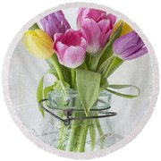 Tulips In A Jar Round Beach Towel