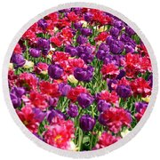 Tulips In A Meadow Round Beach Towel