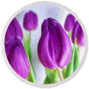 Tulips In Digital Oil Impasto Round Beach Towel