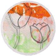 Tulips Round Beach Towel by Linda Woods