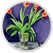 Tulips On The Table Round Beach Towel