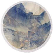 Tulle Mountains Round Beach Towel by Klara Acel