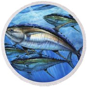 Tuna In Advanced Round Beach Towel