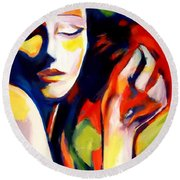 Round Beach Towel featuring the painting Tuning by Helena Wierzbicki