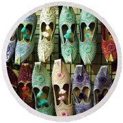 Round Beach Towel featuring the photograph Tunisian Shoes by Donna Corless