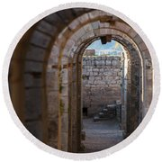 Tunnel Between The Temple Of Trajan Round Beach Towel
