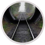 Tunnel Into The Mist  Round Beach Towel
