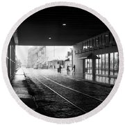 Round Beach Towel featuring the photograph Tunnel Reflections by Lynn Palmer