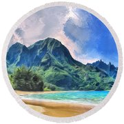 Tunnels Beach Kauai Round Beach Towel