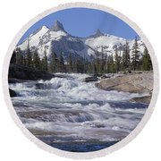 6m6539-tuolumne River  Round Beach Towel
