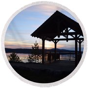 Tupper Lake Sunset Over Raquette Pond Round Beach Towel