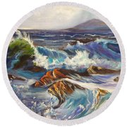 Round Beach Towel featuring the painting Turbulent Waters Hawaii by Jenny Lee