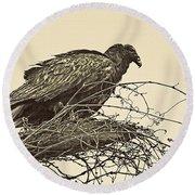 Turkey Vulture V2 Round Beach Towel by Douglas Barnard