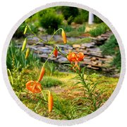 Round Beach Towel featuring the photograph Turk's Cap Lily by Kathryn Meyer