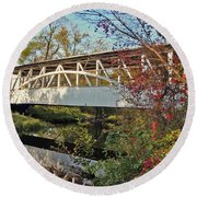 Round Beach Towel featuring the photograph Turner's Covered Bridge by Suzanne Stout