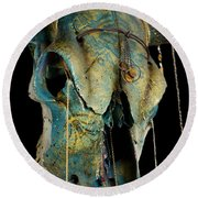 Turquoise And Gold Illuminating Steer Skull Round Beach Towel