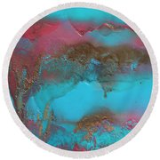 Turquoise And Pink Abstract Painting Round Beach Towel