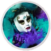 Round Beach Towel featuring the photograph Turquoise And Purple Boa 2 by Donna Corless