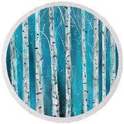 Turquoise Birch Trees II- Turquoise Art Round Beach Towel