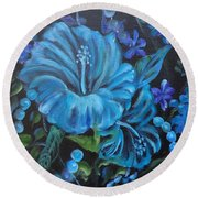 Turquoise Hibiscus Round Beach Towel by Jenny Lee