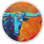 Turquoise Longhorn Round Beach Towel
