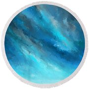 Turquoise Memories - Turquoise Abstract Art Round Beach Towel