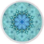 Round Beach Towel featuring the digital art Turquoise Nature Mandala by Deborah Smith