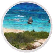 Round Beach Towel featuring the photograph Turquoise Ocean And Pink Beach by Verena Matthew