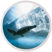 Turtle Clouds Round Beach Towel