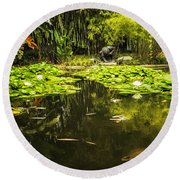 Turtle In A Lily Pond Round Beach Towel