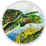 Turtle Love Round Beach Towel