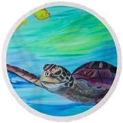 Traveling Through Round Beach Towel by Meryl Goudey