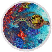 Turtle Wall 2 Round Beach Towel