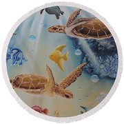 Turtles At Sea #2 Round Beach Towel