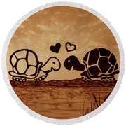 Turtles Love Coffee Painting Round Beach Towel