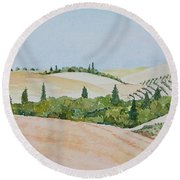 Tuscan Hillside One Round Beach Towel by Mary Ellen Mueller Legault