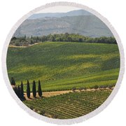 Tuscan Hillside Round Beach Towel
