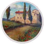 Tuscan Home Round Beach Towel