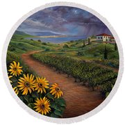 Tuscan Landscape Round Beach Towel by Claudia Goodell