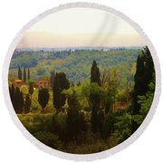 Tuscan Landscape Round Beach Towel by Dany Lison