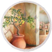 Round Beach Towel featuring the painting Tuscan Lemon Tree by Michael Rock