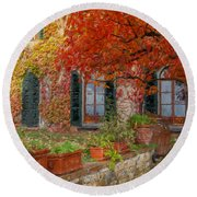 Tuscan Villa In Autumn Round Beach Towel