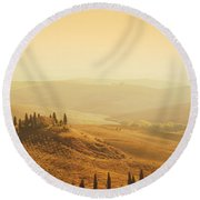 Tuscan Villa Sunrise Round Beach Towel by iPics Photography