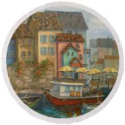 Tuscan Village Boat Paintings Round Beach Towel