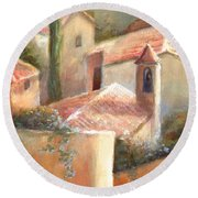 Round Beach Towel featuring the painting Tuscan Village by Michael Rock